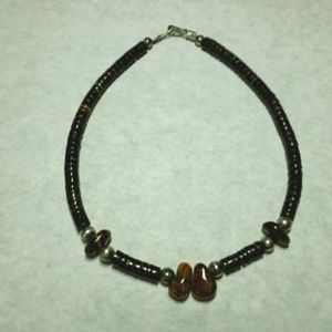 Sterling silver tigers eye shell beads necklace
